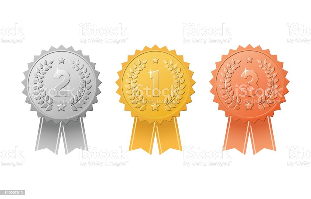 Gold, silver, bronze first, second, third place award badges with color ribbons set. Metal medal trophy seals for winners. vector art illustration