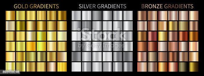 Gold, silver, bronze gradients. Collection of vector colorful gradient illustrations for backgrounds, cover, frame, ribbon, banner, coin, label, flyer, card, poster, ring etc.