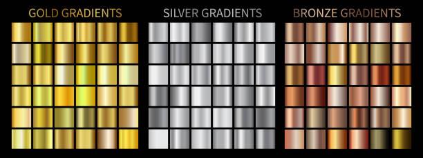 złote, srebrne, brązowe gradienty - metal stock illustrations