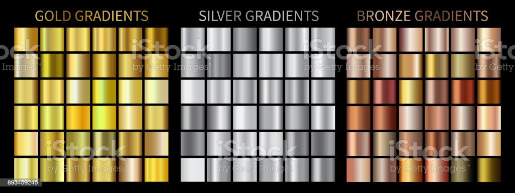 Gold, silver, bronze gradients vector art illustration