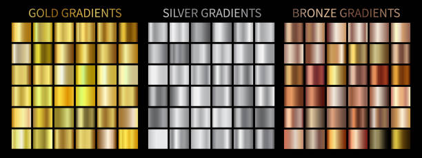 gold, silver, bronze gradients - gold stock illustrations
