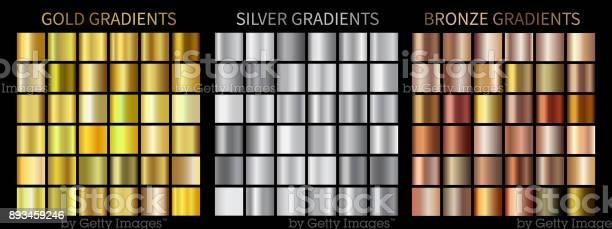 Goud Zilver Bronsverlopen Stockvectorkunst en meer beelden van Abstract