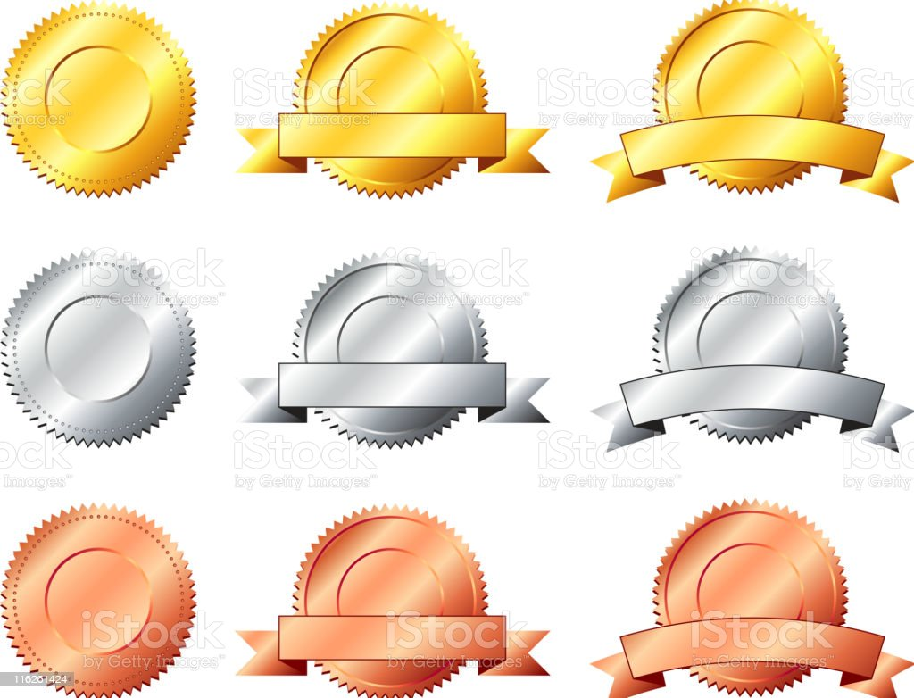 gold silver bronze label royalty-free stock vector art