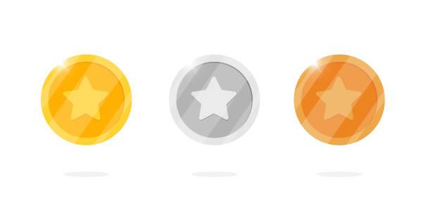 비디오 게임 또는 앱 애니메이션을위한 별이있는 골드 실버 브론즈 메달 동전 세트. 빙고 잭팟 카지노 포커 요소 승리. 현금 보물 개념 고립 된 평면 벡터 일러스트 - 토큰 stock illustrations