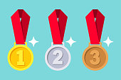 Gold, silver, bronze medal with red ribbon.