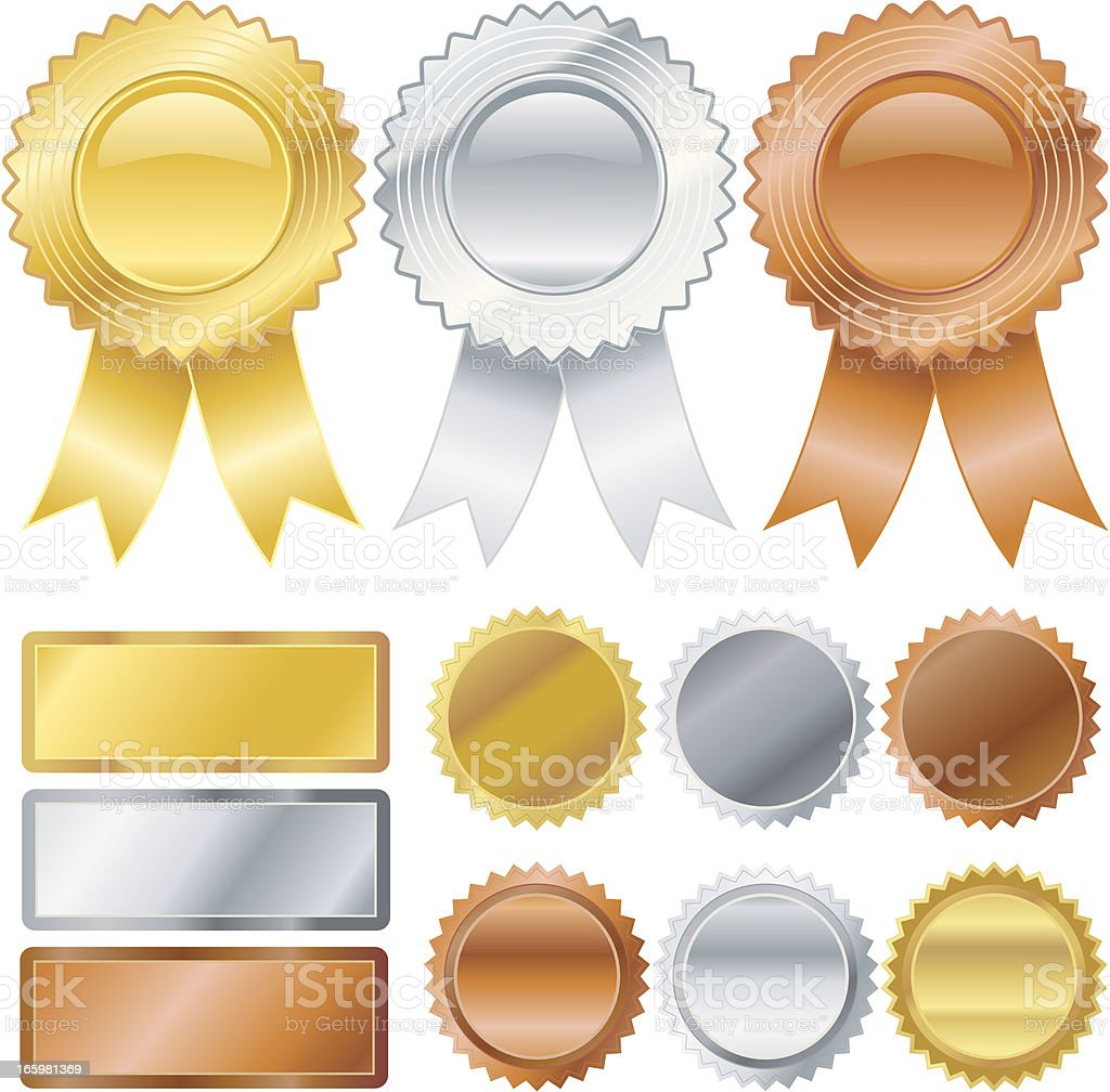 Gold, Silver, Bronze Medallions royalty-free gold silver bronze medallions stock vector art & more images of achievement