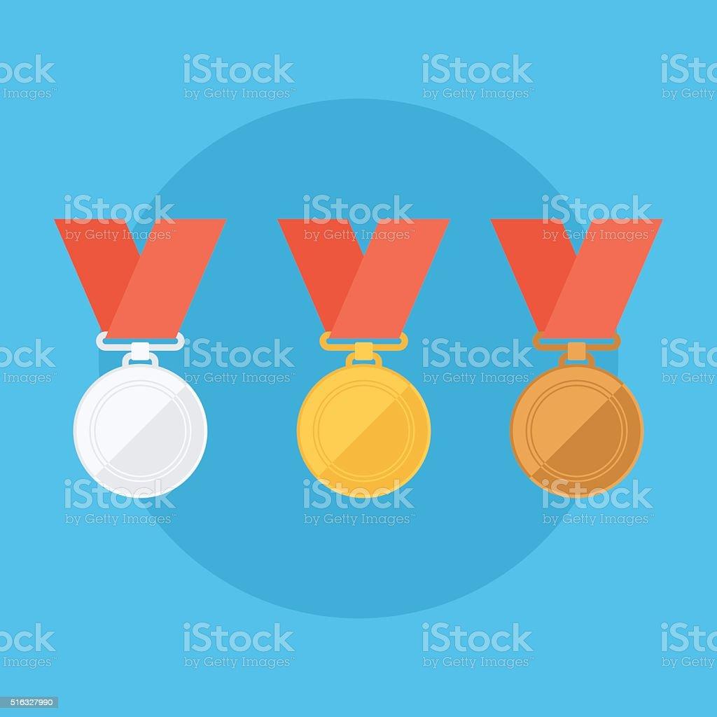 Gold, silver, bronze medals. vector art illustration