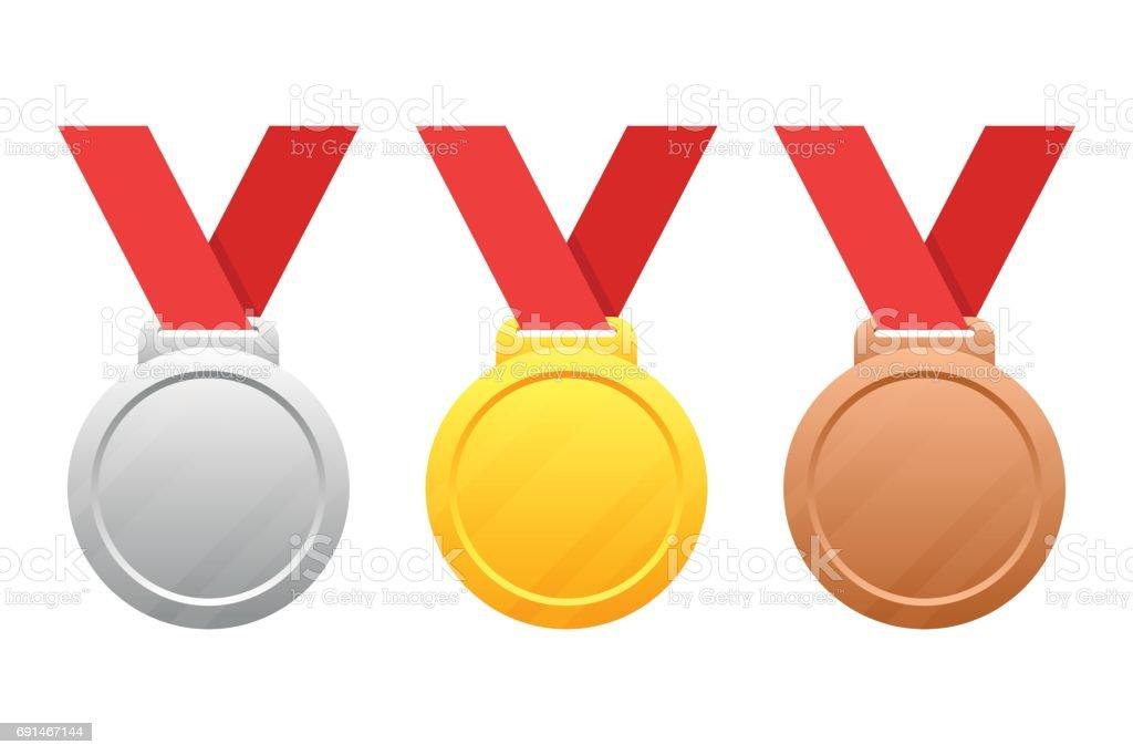 Gold, silver, bronze medals vector art illustration