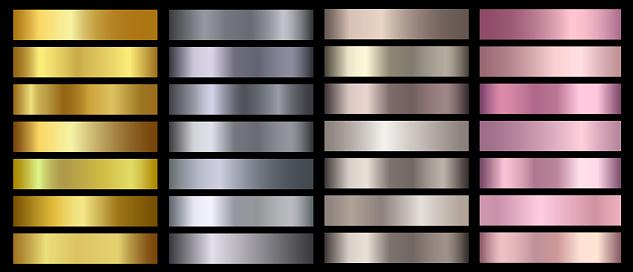 Gold, silver, bronze, rose gold metallic foil texture vector gradients set. Golden metallic