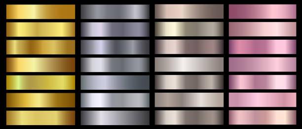złoto, srebro, brąz, różowe złoto metaliczna folia tekstury gradientów wektorowych zestaw. złoty metaliczny - metal stock illustrations