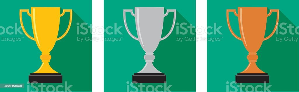 Gold Silver Bronze Trophies vector art illustration