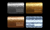 Gold, silver, bronze, VIP premium membership cards in polygonal style. Gift, voucher or certificate, vector illustration. VIP cards with abstract mosaic background. Different cards categories - VIP, golden, silver. Members only design.
