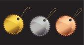 Three unique stylish web badges with hanger.