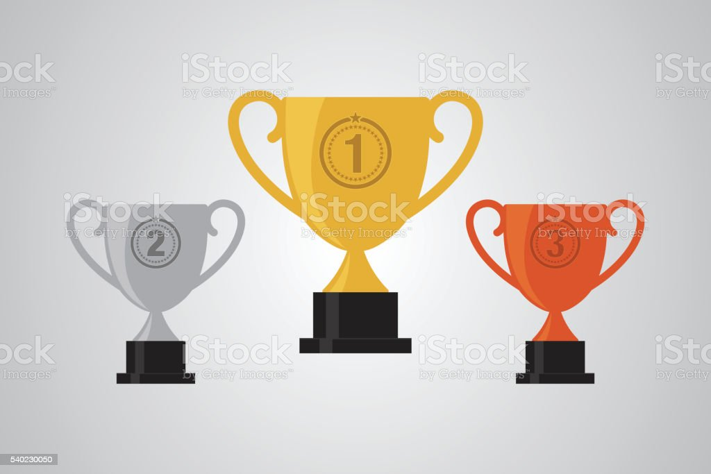 Gold Silver Bronze Winner Cup Trophy Flat Design Vector Illustration Royalty Free