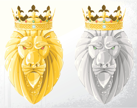 gold & silver lion heads