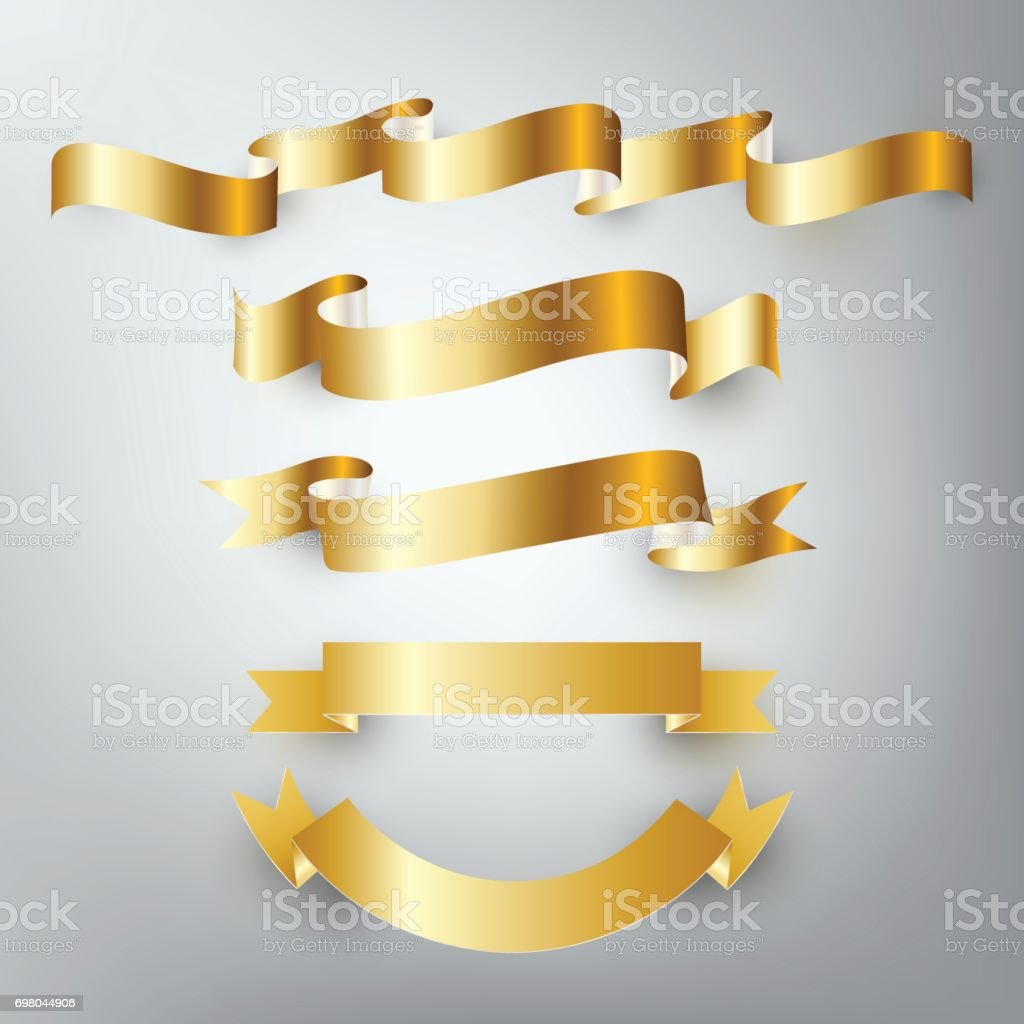 Gold silver ribbon vector, design banner, badge icon, vector illustration vector art illustration