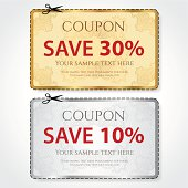 Gold, silver Sale Coupon template. Vector design (guilloche pattern)