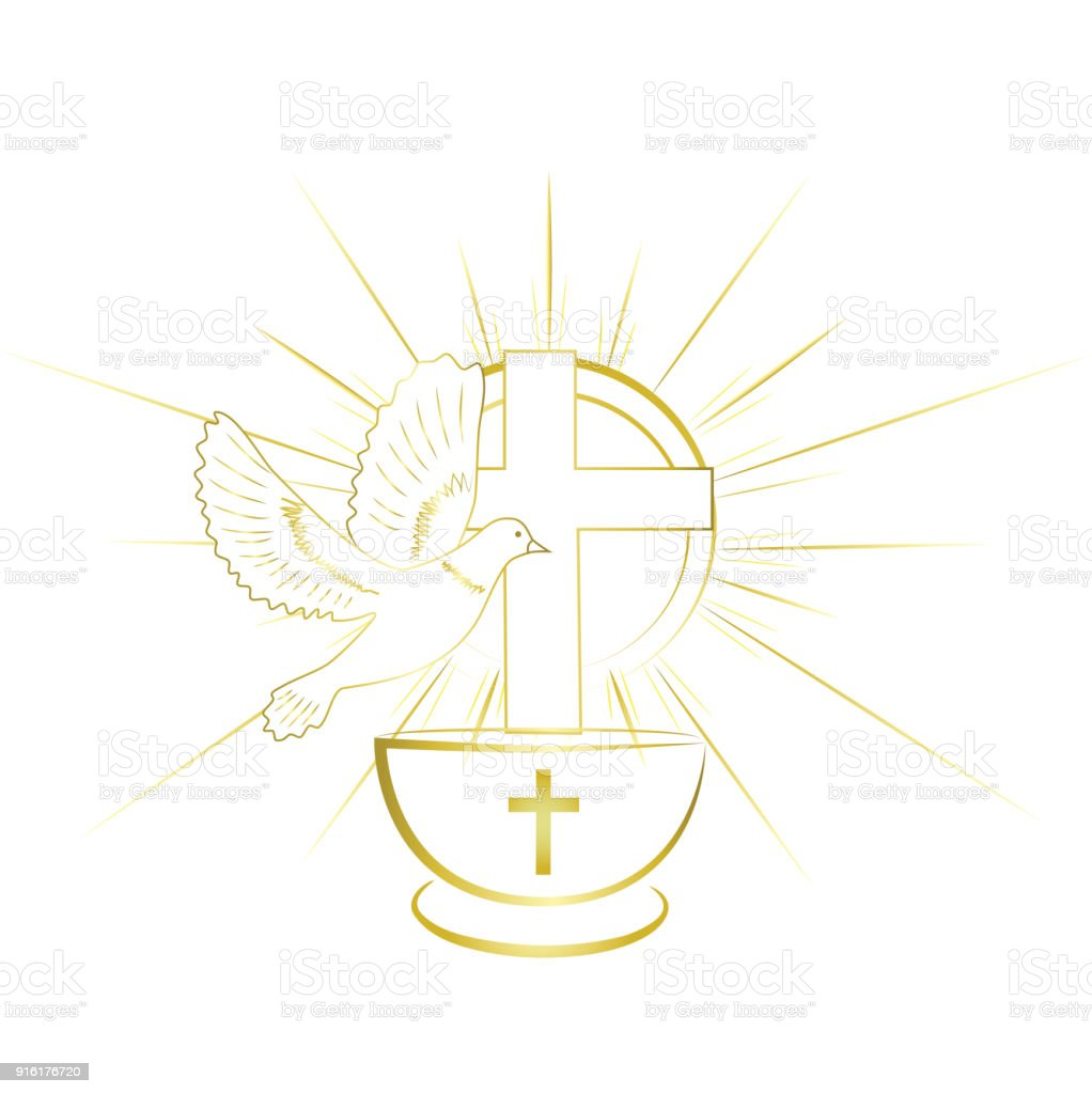 Gold, simple and classy baptism symbols. Invitation. - illustrazione arte vettoriale