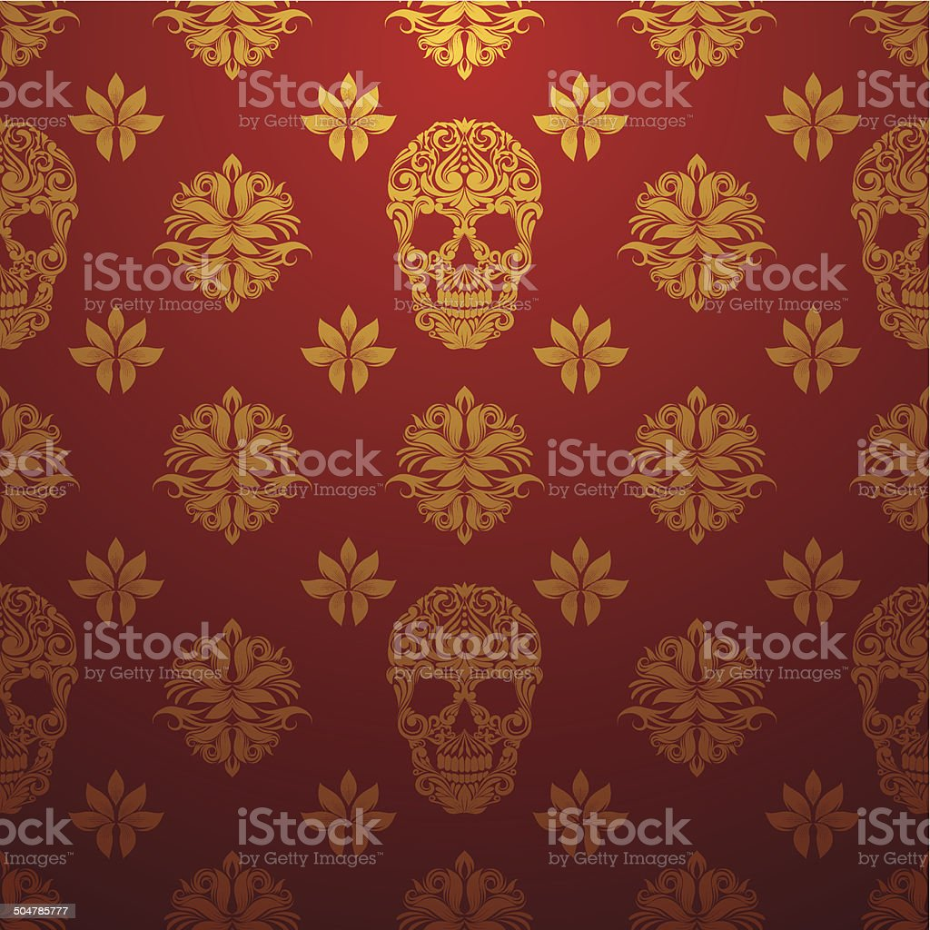 Gold Skull Ornamental Pattern royalty-free stock vector art