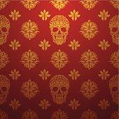 Gold Skull Ornamental Pattern