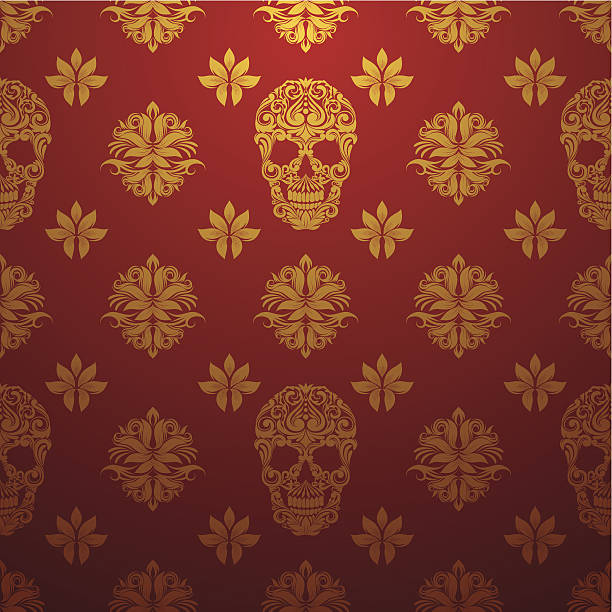 Gold Skull Ornamental Pattern vector art illustration