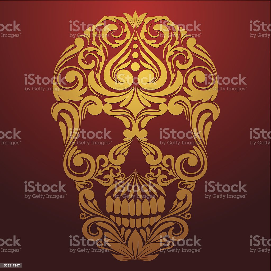 Gold Skull Ornamental vector art illustration