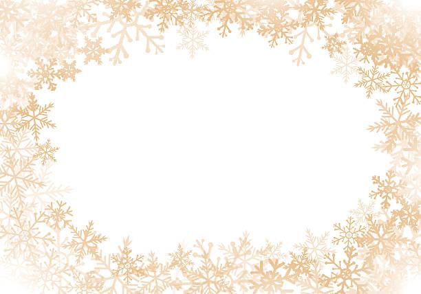 Gold snowflakes frame - ilustración de arte vectorial