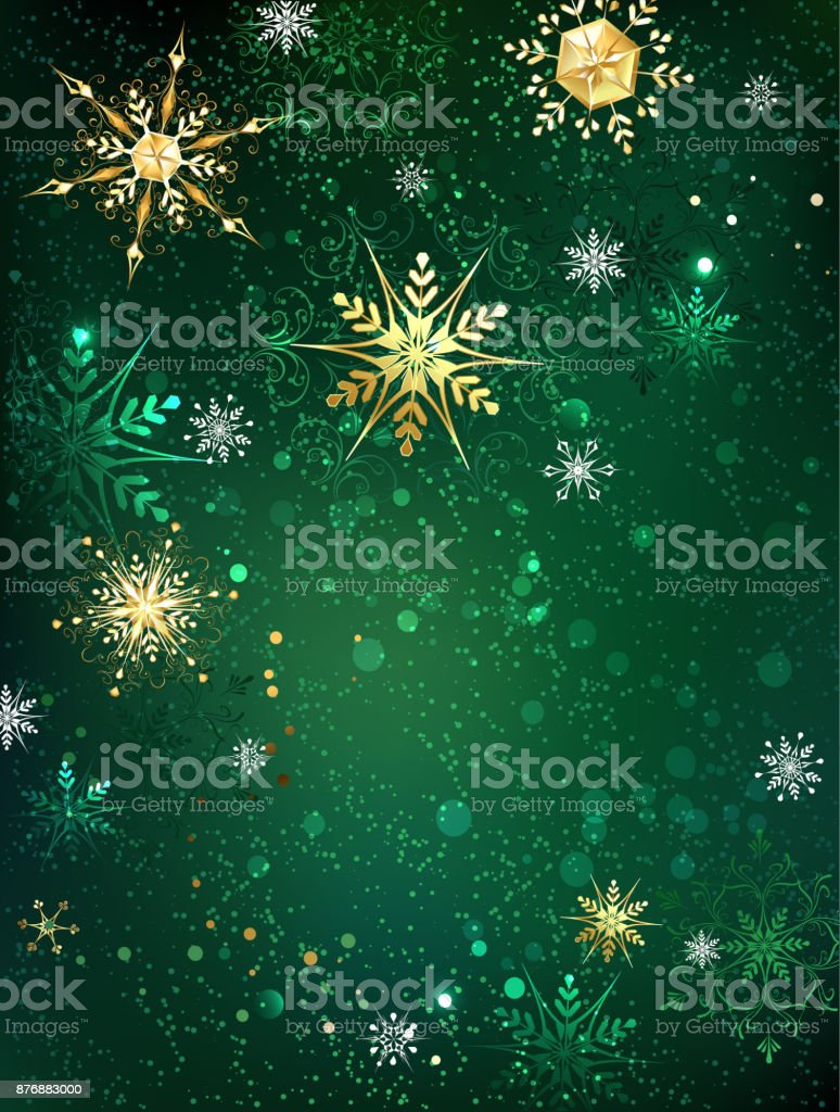Gold snowflakes on a green background vector art illustration
