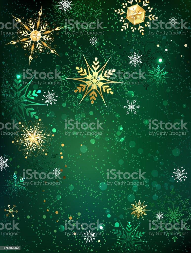 Flocos de neve de ouro sobre fundo verde - ilustração de arte em vetor