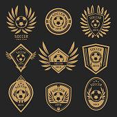 Gold soccer emblems set design on black background