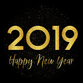 Happy New Year background with gold sparkle design