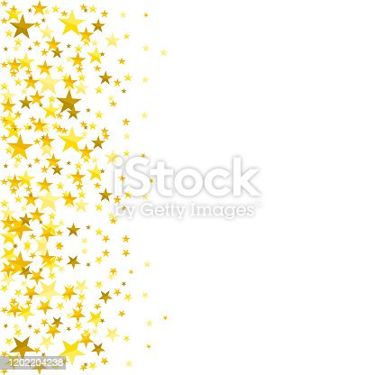 Gold Sparkle star on white background.