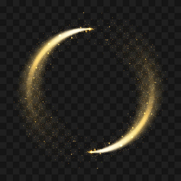 Gold sparkling glitter circle. Vector circle of golden glittering particles with star light trail and shine glow on transparent background Gold sparkling glitter circle. Vector circle of golden glittering particles with star light trail and shine glow on transparent background igniting stock illustrations