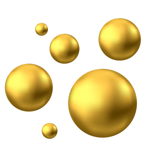 Gold sphere or oil bubble isolated on white background. Gold sphere. Oil bubble isolated on white background. Golden glossy 3d ball or precious pearl. Yellow serum or collagen drops. Vector decoration element for skincare cosmetic package. sphere stock illustrations