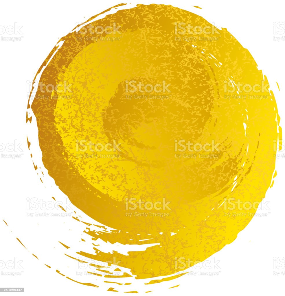 A gold spiral pattern drawn with a brushPrint vector art illustration