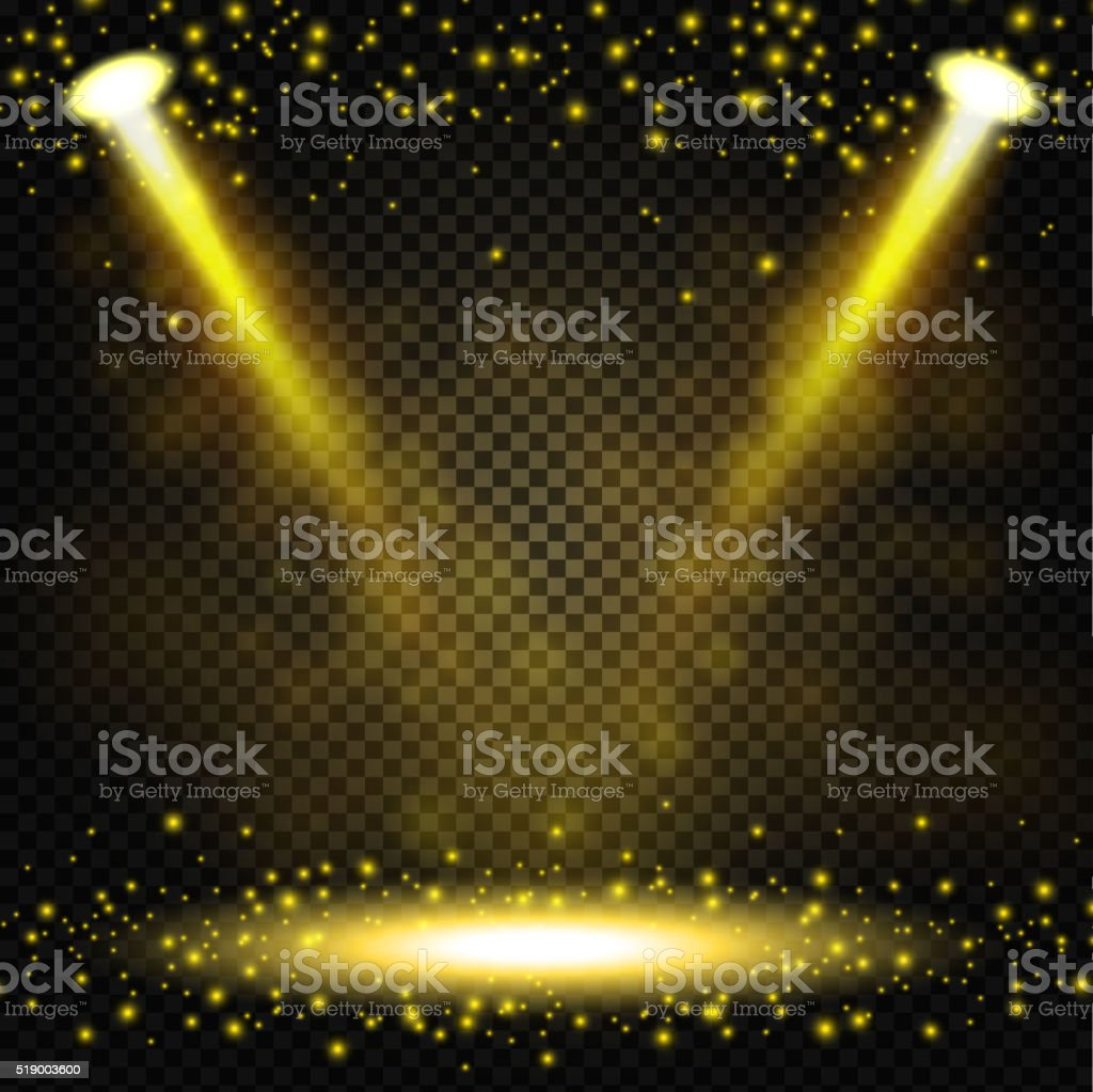 Gold Spotlight shining on transparent background vector art illustration