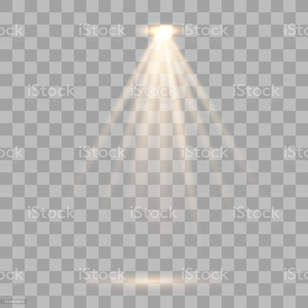 Gold spotlight with warm light. Vector illustration