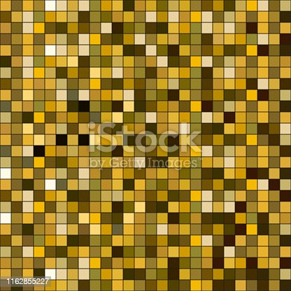 Gold square sparkle texture. Seamless pattern with golden glitter, glowing spots wallpaper. vector