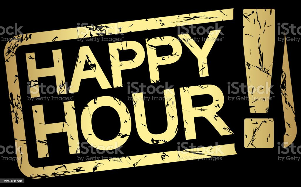 gold stamp with text Happy Hour vector art illustration