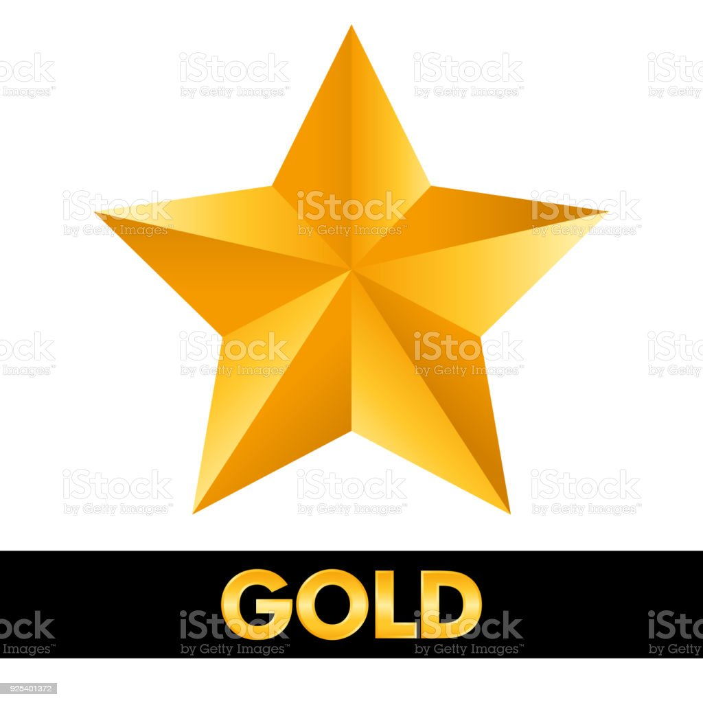 gold star 3d shiny metal isolated on white background stock vector