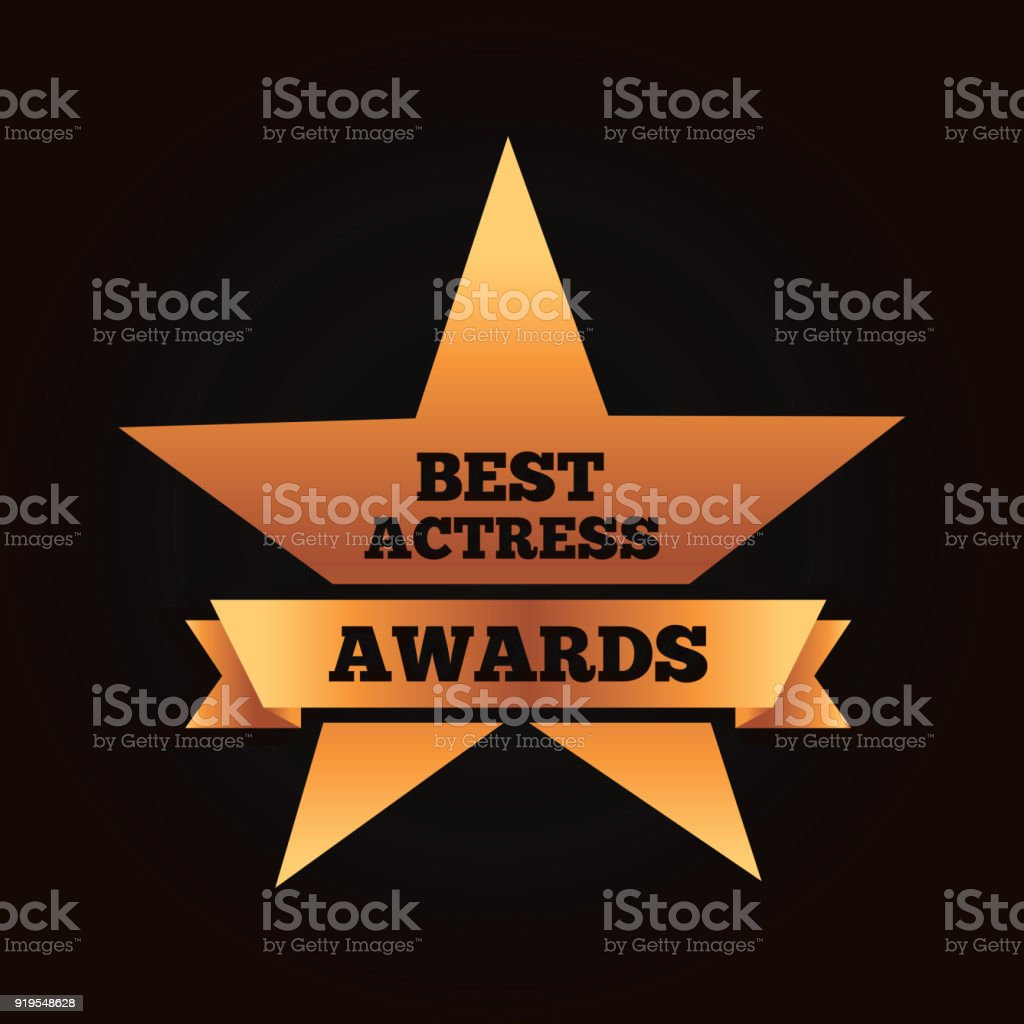 gold star award best actress winner ribbon vector art illustration