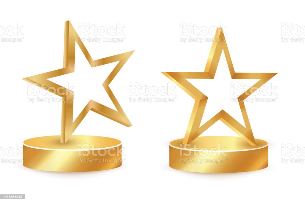 Gold Star Award On Blank Trophy Reward Icon Isolated On White