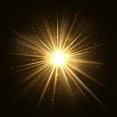 Gold star burst. Golden light explosion isolated on dark background vector illustration. Effect star and sparkle, flash and shine golden