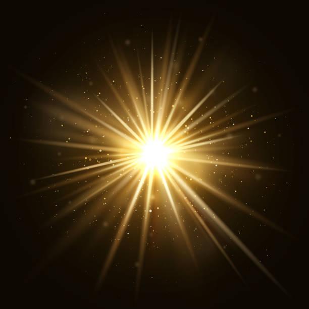 gold star burst. golden light explosion isolated on dark background vector illustration - shiny stock illustrations, clip art, cartoons, & icons