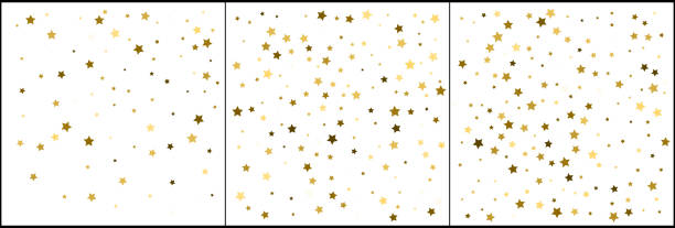 Gold star confetti celebrations. Simple festive modern design. Holiday vector. Set 3 in 1 vector art illustration