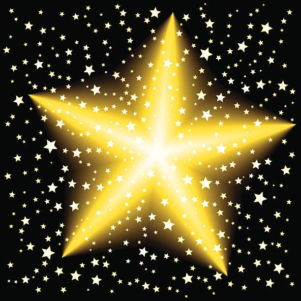 Gold Star in Night Sky vector art illustration