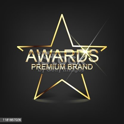 Gold Star in the dark background, with text awarding. Vector