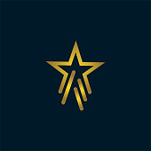 Gold Star Logo Vector in elegant Style with dark blue Background