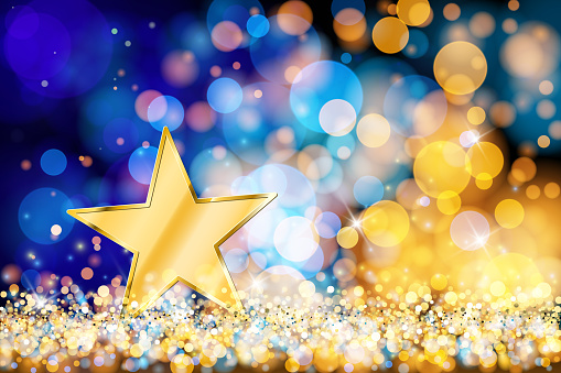 Gold star on glowing vector background. The eps file is organised into several layers for the star, the background, the bokeh, and the lights. You can move, delete or edit the elements of the image in groups or separately.