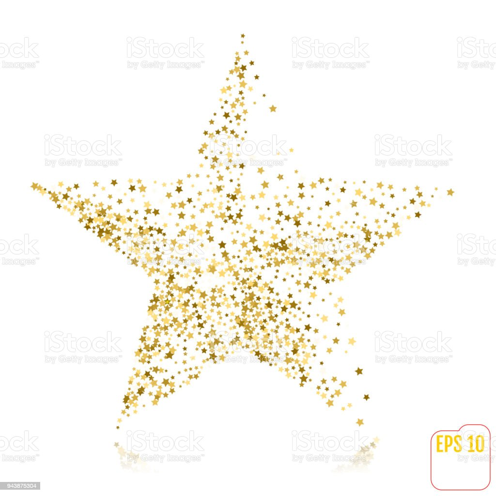 Gold star on holiday background. Vector, golden stars confetti concept. vector art illustration